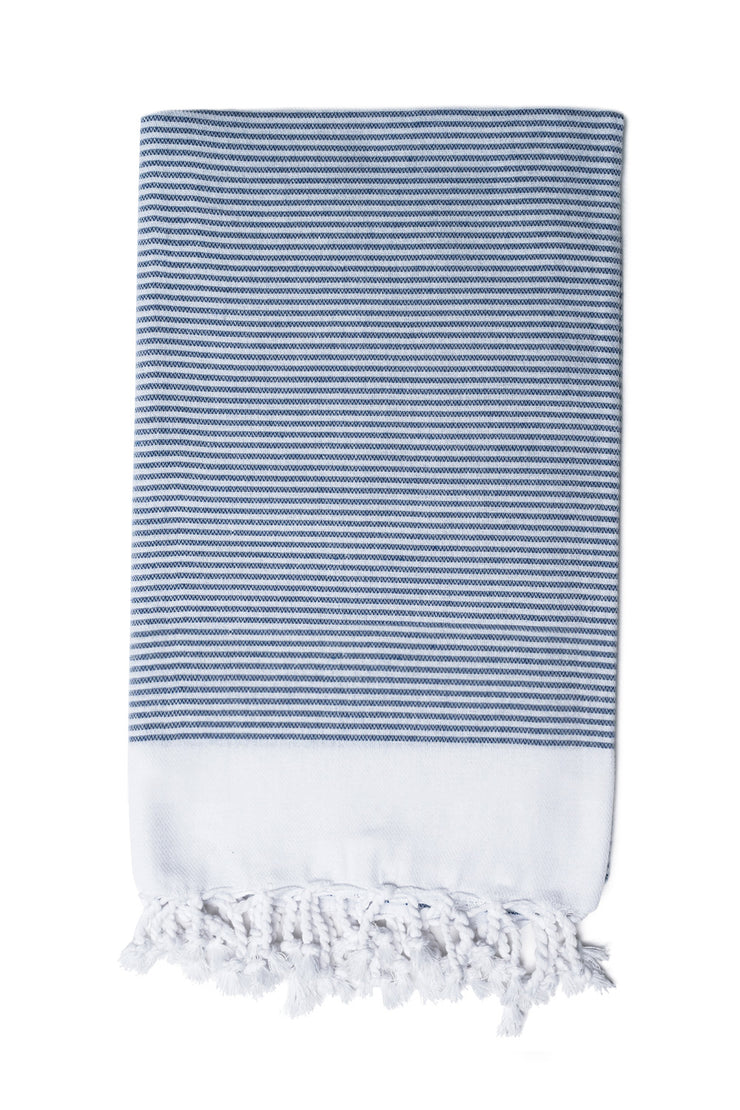 Navy Candy Stripe Hand Towel from Olive & Loom
