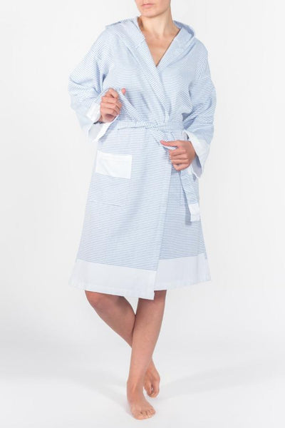 Candy Stripe Robe in Sapphire