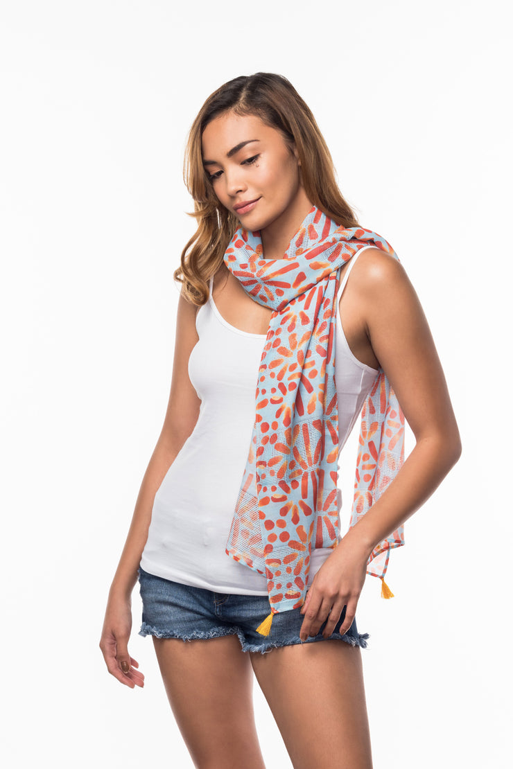 Cotton Scarf with Tile print from Olive & Loom