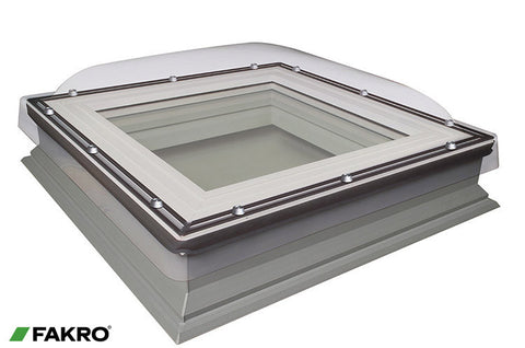 DXC-C P4 Secure Fixed Shut Double Glazed + Polycarbonate Dome, Domed Flat Roof Window 80x80