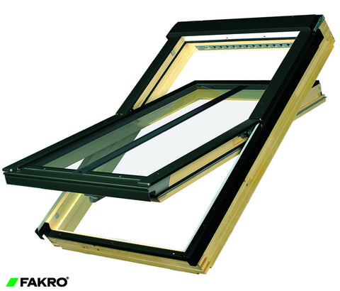 FTP-V/C P2 Z-Wave Electrical, Natural Pine Internal, Laminated Double Glazed Conservation Style Center Pivot Window 55x98