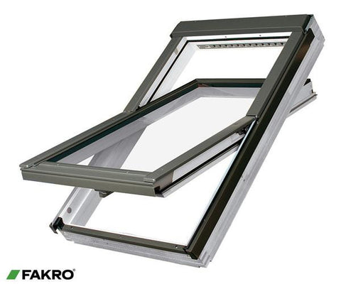 FTW-V P5 Z-Wave White Acrylic Coated Natural Pine, Laminated Triple Glazed Electrically Operated Center Pivot Window 55x98