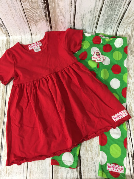 Christmas Red/Polka Dot Legging Set