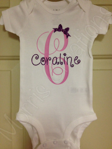 Name with bow Onesie