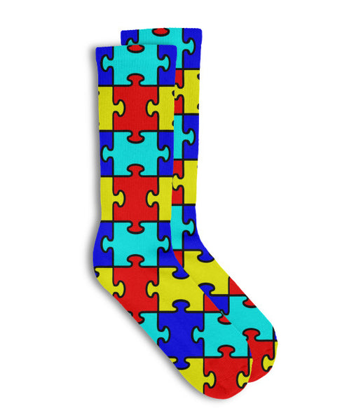 Autism Colorful Puzzle Pieces Socks