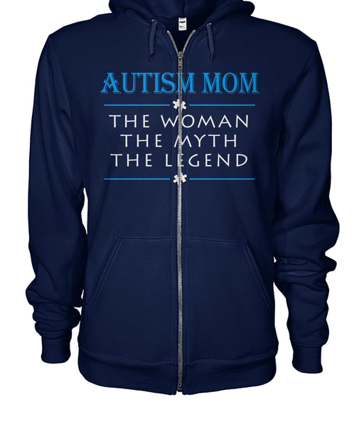 Autim Mom - Woman Myth Legend - Full Front Zip Hoodie