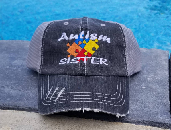 Autism Colored Puzzle Pieces Distressed Mesh Hat