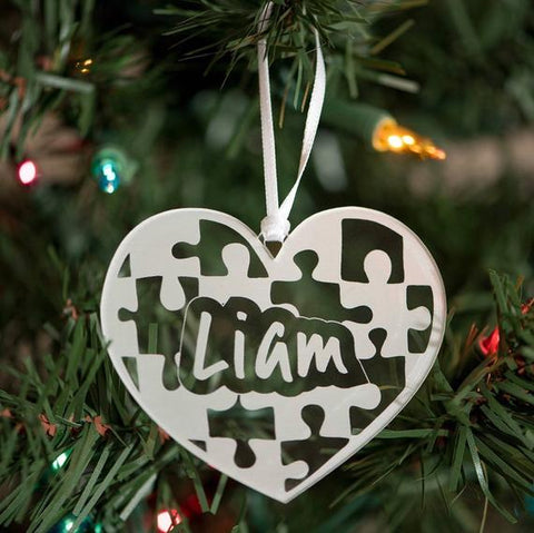 Engraved Autism Puzzle Pieces Heart Ornament