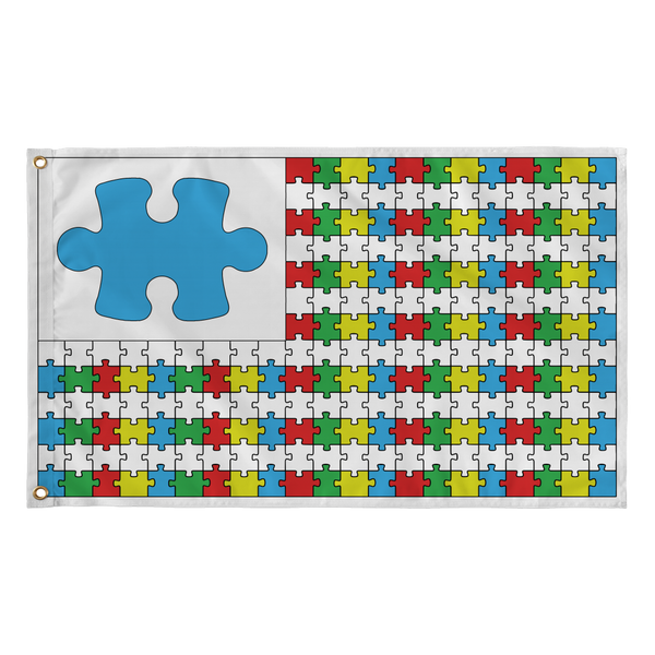 Autism Awareness Puzzle Pieces Flag