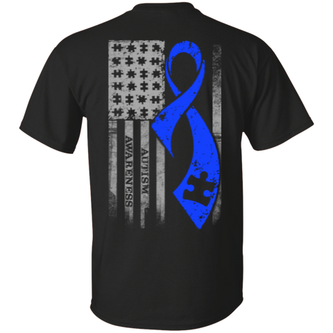 Autism - Puzzle Pieces Blue Ribbon Grey Flag