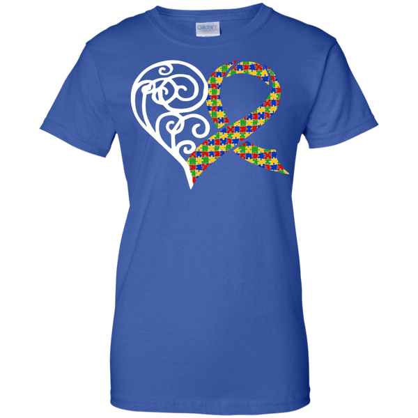 Autism Puzzle Pieces Ribbon Heart