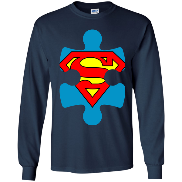 Autism Blue Puzzle Piece with SuperMan - Youth Sizes