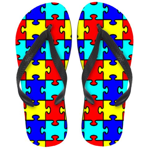 Autism - Colorful Puzzle Pieces Flip Flops