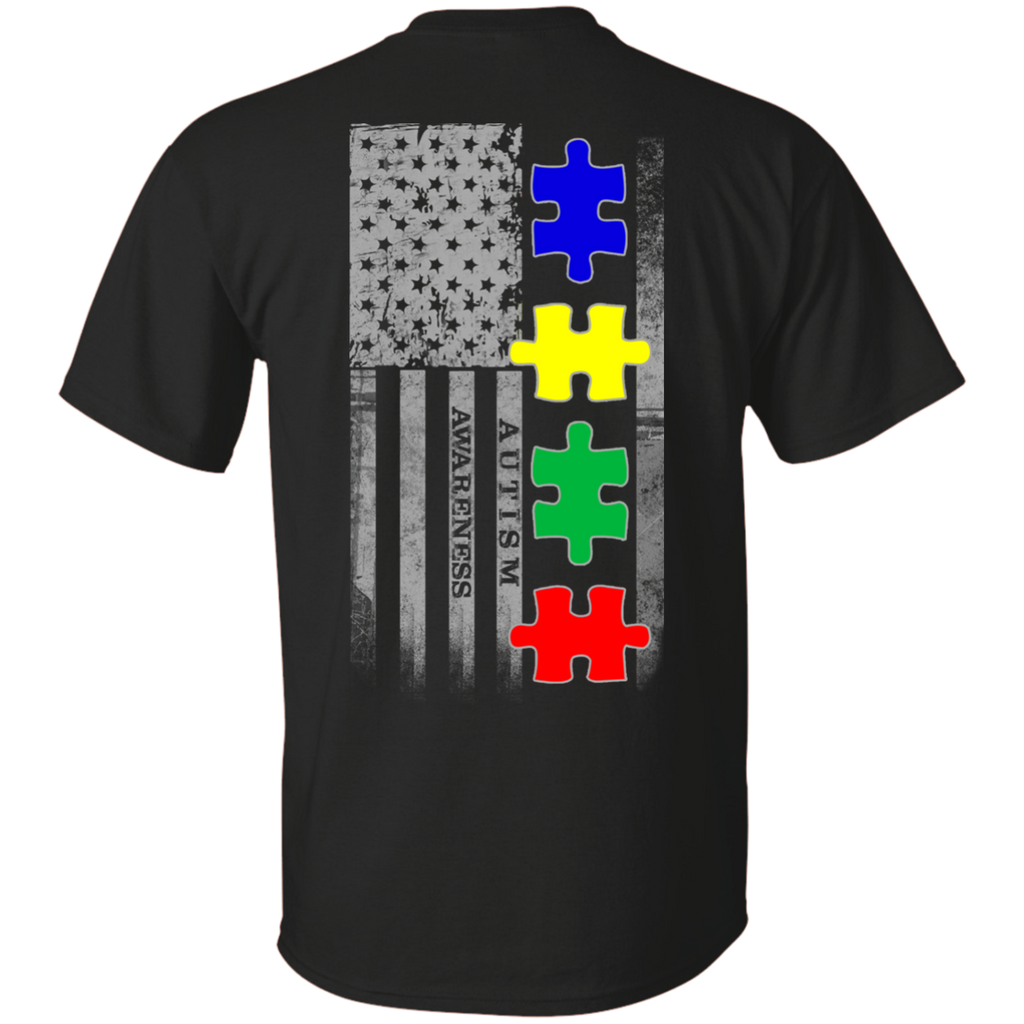 Autism Awareness American Puzzle Pieces Flag