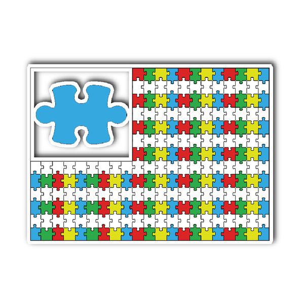 Autism Awareness Puzzle Pieces Flag Sticker