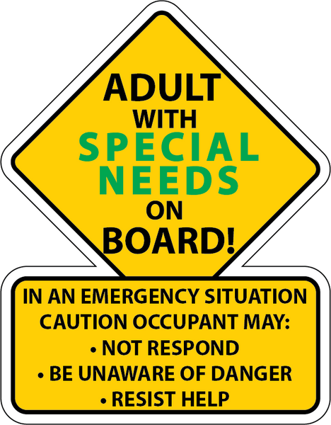 SPECIAL NEEDS Safety Car Truck Decal Sticker