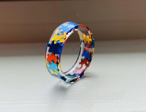 Autism Awareness Puzzle Pieces Resin Ring Jewelry