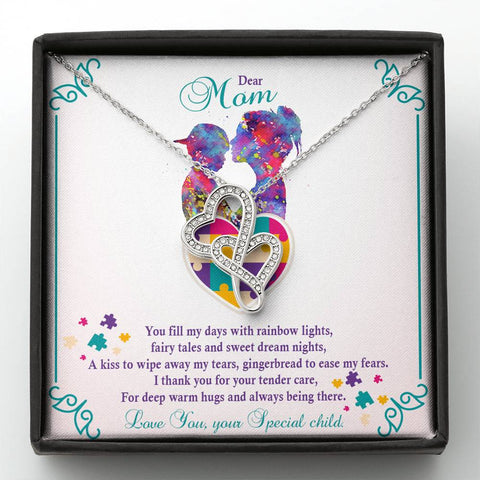 Autism - Double Heart Pendant Necklace