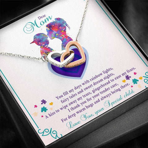 Autism - Interlocking Hearts Pendant Necklace