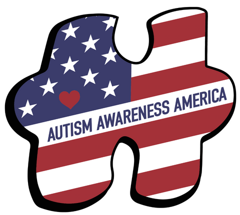 Autism Awareness America Flag Puzzle Piece Decal