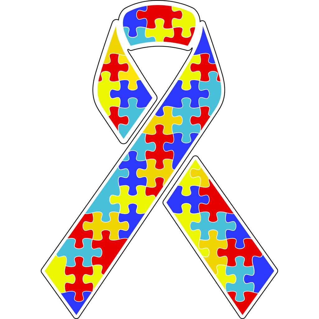 Autism Puzzle Pieces Ribbon Truck Car Sticker Decal