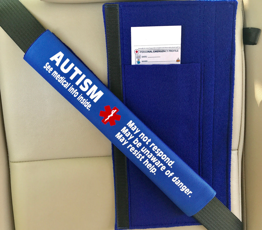 Autism Medical Alert Safety Seatbelt Cover with Pocket and Medical Info Page