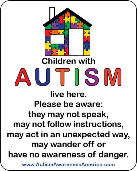 Autism Safety Home Decal Sticker
