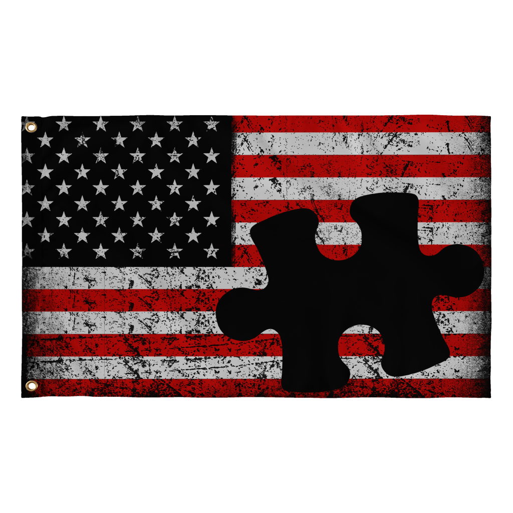 Autism Puzzle Piece Real American Flags