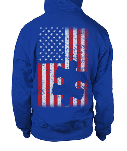 Autism American Flag Puzzle Piece Full Zipper Hoodie - Front/Back Design
