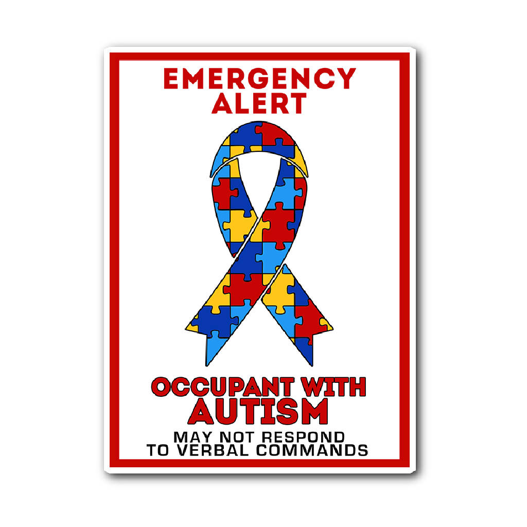 Autism Emergency Alert Car Sticker Decal White