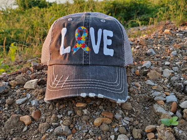 Autism Love Ribbon Distressed Mesh Hat