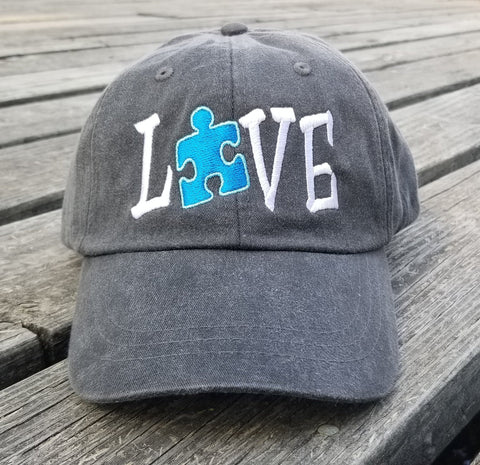 Autism Love Blue Puzzle Piece Hat