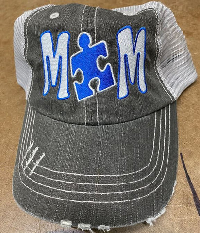 Autism MOM Puzzle Piece Distressed Mesh Hat