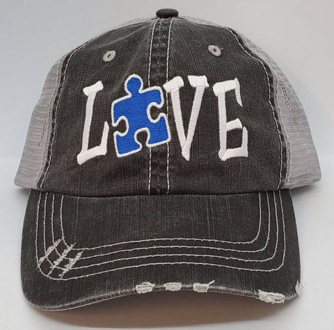 Autism Love Puzzle Piece Distressed Mesh Hat