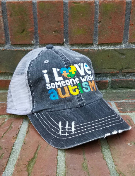 I Love Someone With Autism Puzzle Piece Distressed Mesh Hat