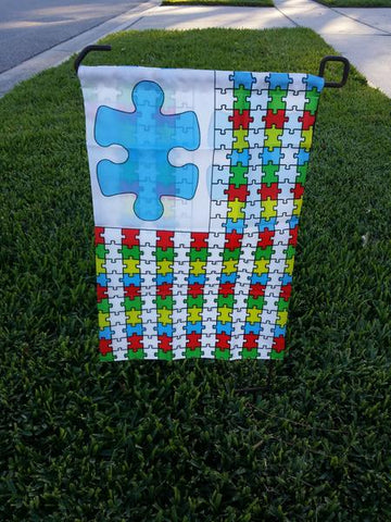 Autism Puzzle Pieces GARDEN Flag