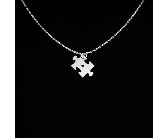 Autism Puzzle Piece Pendant and Necklace