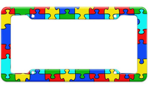 Autism Puzzle Pieces License Plate Frame