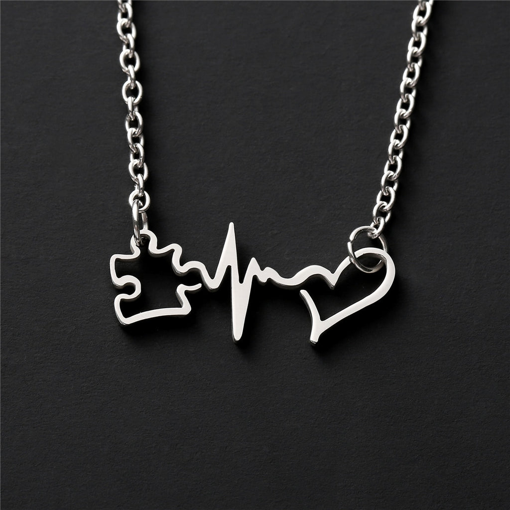 Autism Puzzle Piece Heartbeat Pendant Necklace - FREE SHIPPING!