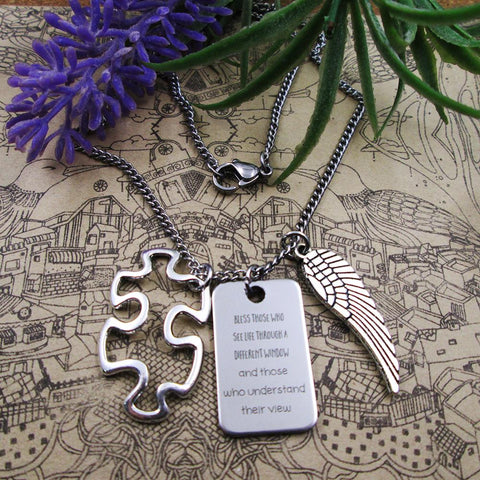 Autism Necklace With Puzzle Piece Charm and Wing