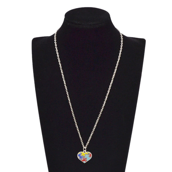 Autism Puzzle Piece Heart Pendant Necklace - FREE SHIPPING!