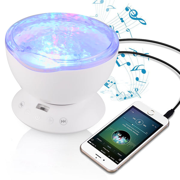 Calming Autism Special Needs Ocean Wave Sensory LED Night Light Projector With Music and Remote