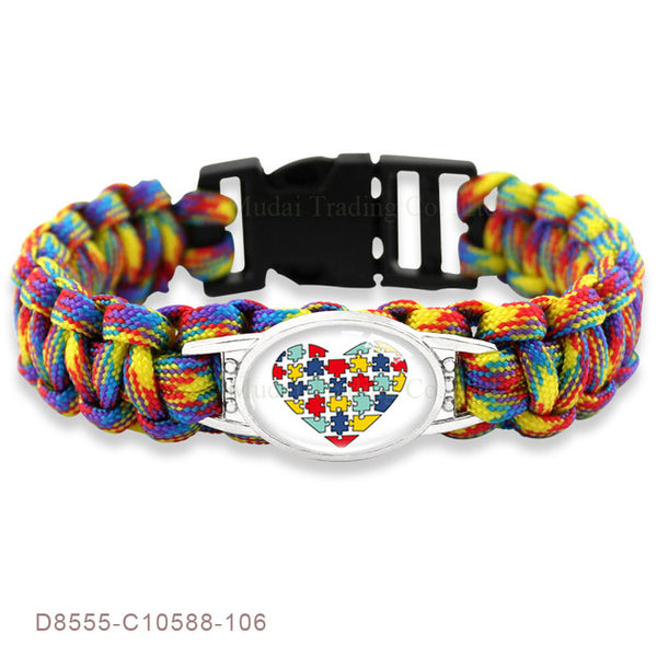 Puzzle Piece Autism Awareness Paracord Charm Bracelets