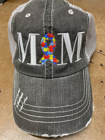 Autism Mom or Dad Ribbon Puzzle Pieces Distressed Mesh Hat