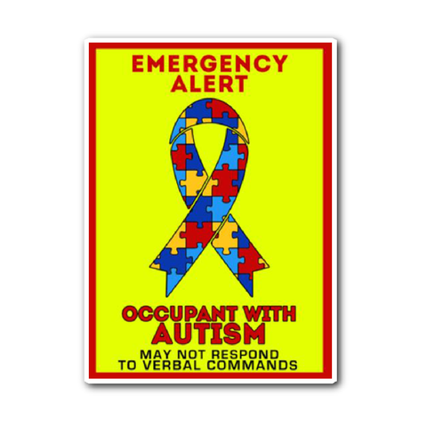 Autism Emergency Alert Car Sticker Decal Yellow