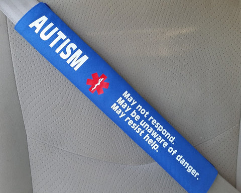 Autism Medical Alert Safety Seatbelt Cover