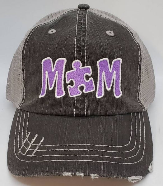 Autism MOM Puzzle Piece Distressed Mesh Hats