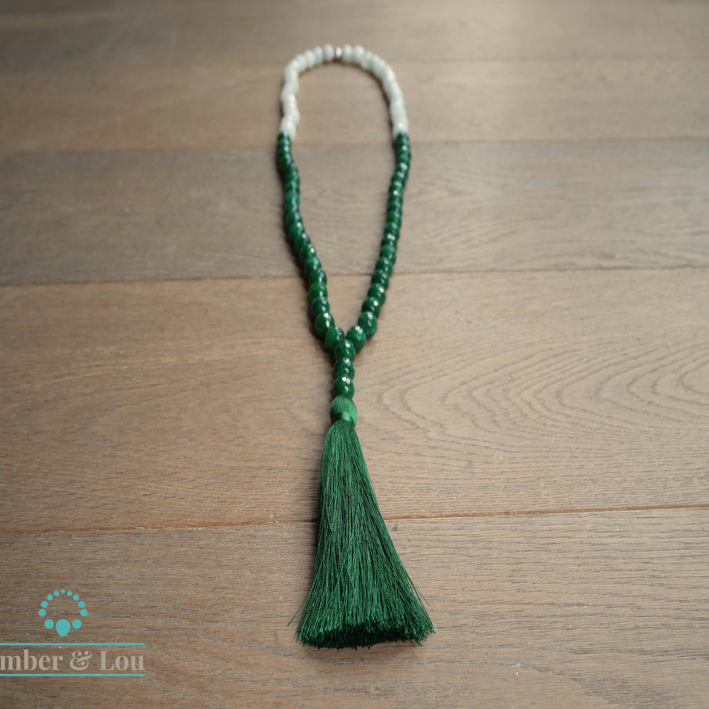 Green & white jade with green tassel - TheShopster