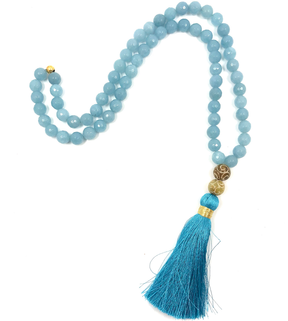 Natural light blue beads with blue tassel - TheShopster