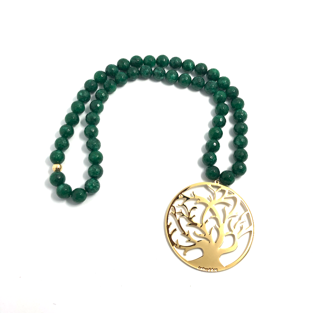 Green jade stone with Tree of life pendant - TheShopster